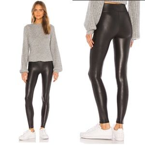 Spanx High Rise Faux Leather Leggings Black Medium